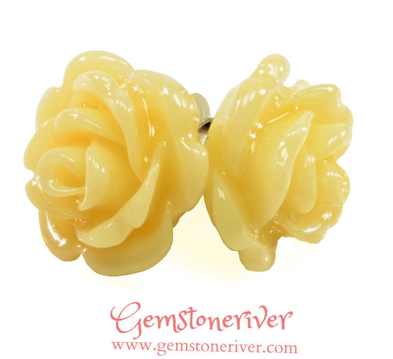 E320 Rose carved stud earrings Lemon Ivory Cream & 925 Silver | Gemstoneriver® EVE