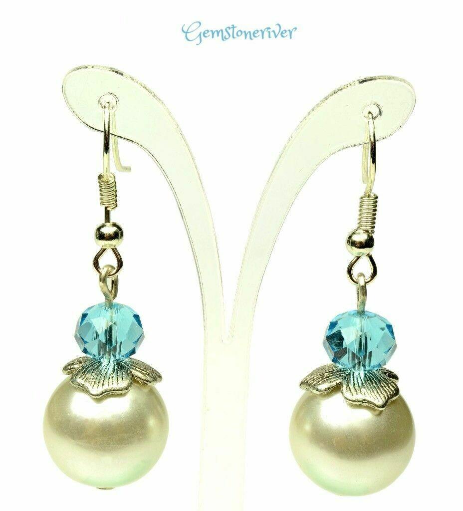 Sapphire Blue Crystal & ivory cream pearls Bali Silver  earrings - Bride Bridesmaids Flowergirl  Prom Glam | Gemstoneriver®