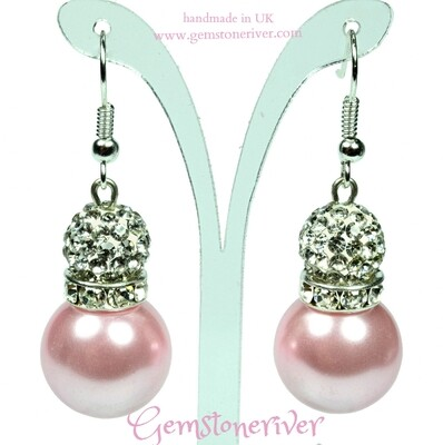 Blush Pink pearls & sparkle crystal ball drop earrings  handmade in UK Gemstoneriver®