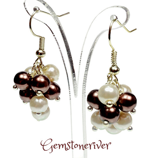 Ivory Cream & Brown Pearl Mini Cluster Earrings - wedding bridesmaid mother henparty jewellery UK