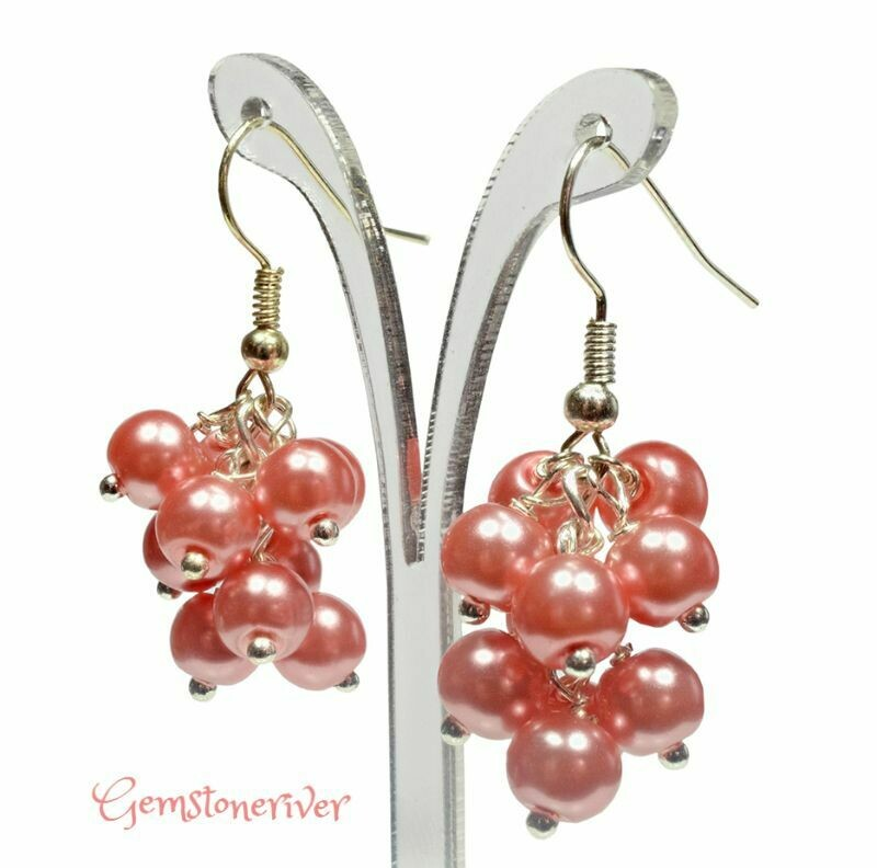 E87 Coral Pearl Mini Cluster Earrings - wedding bridesmaid mother henparty jewellery UK GIFTS PENELOPE