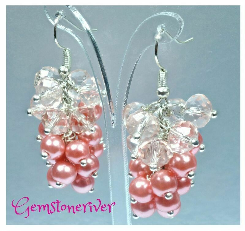 Peachy coral pearl & sparkling crystal earrings cluster drop dangle