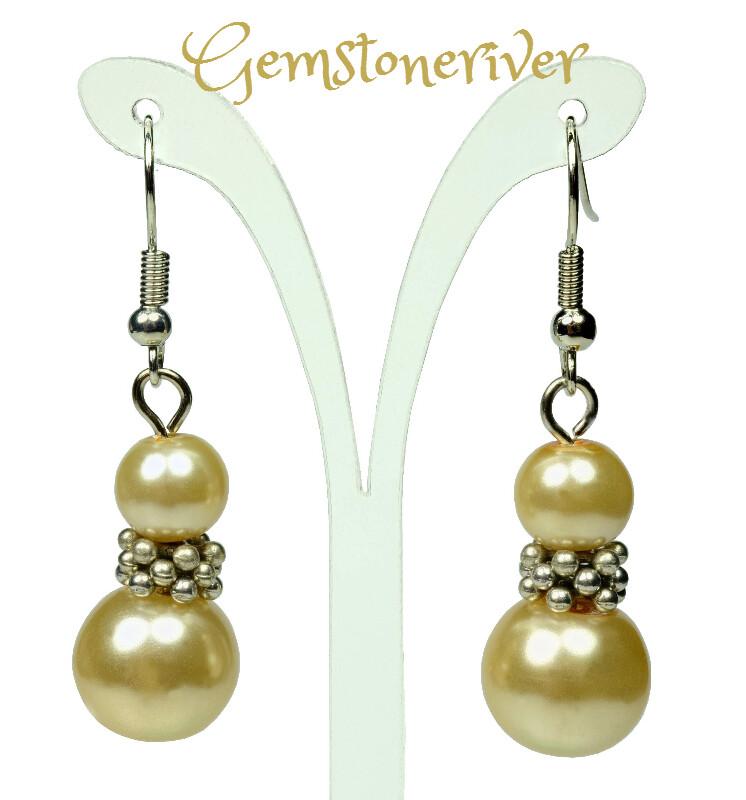E216 Lemon honey Pearl Silver Drop Dangle Earrings - Bridesmaids Prom Dinner Gala Party Bridesmaid Office Jewellery - Tima