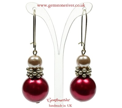 E278 Taupe gold & Wine red pearl Bali silver Earrings - Bridesmaids Prom Dinner Gala Party Bridesmaid Office Jewellery - Melanie