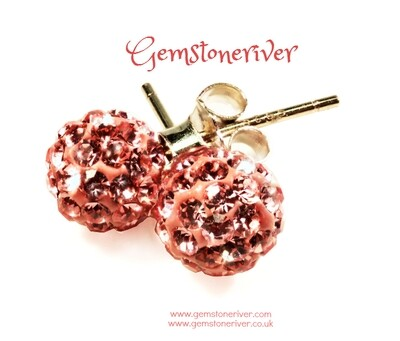 E336 Coral blush Stardust Disco Ball crystal rhinestone diamante stud earrings on 925 Silver   Gemstoneriver® jewellery UK
