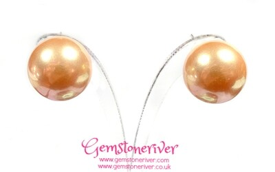Bubblegum golden brown pearl stud earrings Bridesmaid Mother of bride wedding office party Glamour Smart Casual Jewelry UK
