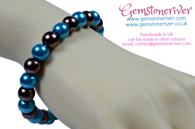 Cyan Blue & Chocolate Brown Pearl Bracelet Bridesmaid Wedding Birthday Gift Party unique gifts & charms UK