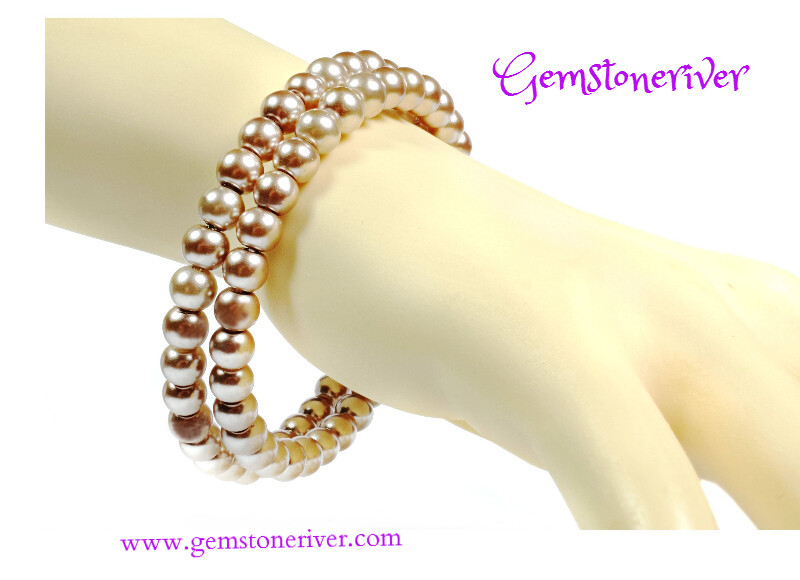 B323 Flexible Double Strand Cuff Bracelet Light mocha brown TAUPE Pearls - ELISE - Bracelet & Earrings SET Bridesmaid, Party & Office Jewellery