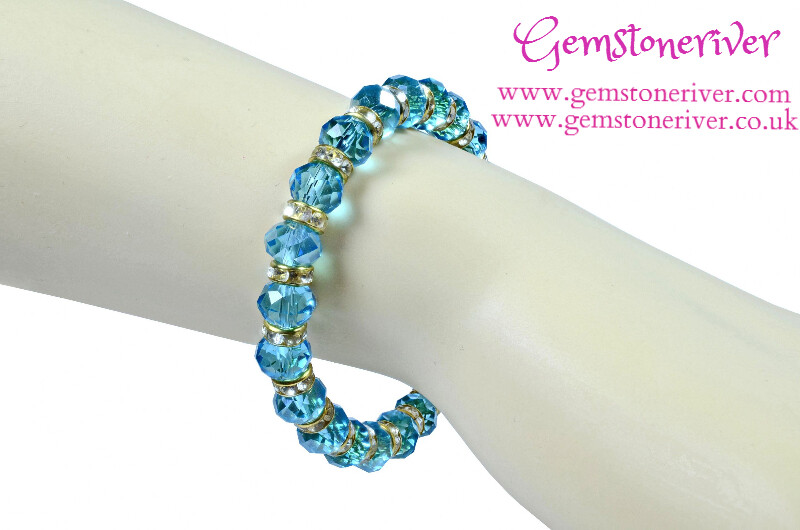 B191 Sparkling Blue Crystal Rhinestone & Gold & Bracelet - Monaco - Dinner Date Bridesmaid, Flower Girl wedding jewelry