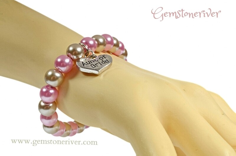 Stylish pink & mocha brown taupe pearl Timeless Bracelet