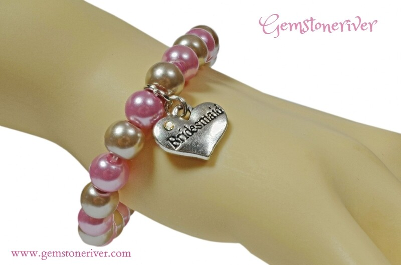 B245 Stylish Light pink & Mocha Taupe Pearl Timeless Bracelet