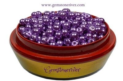 Purple pearl x 100 beads arts craft & jewellery embroidery dressmaking supplies | Gemstoneriver UK