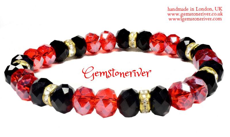 B174 Sparkling Red & Black Crystal Rhinestone & Gold & Bracelet - POKER - sparkling naughty , Flower Girl wedding jewelry UK
