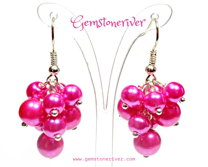 E189 Cerise Hot Pink Fuchsia Mini Cluster Earrings - wedding pearls- TANIA FIZZ - Bridesmaid, Romantic, For Her, Mother, Chic Valentine