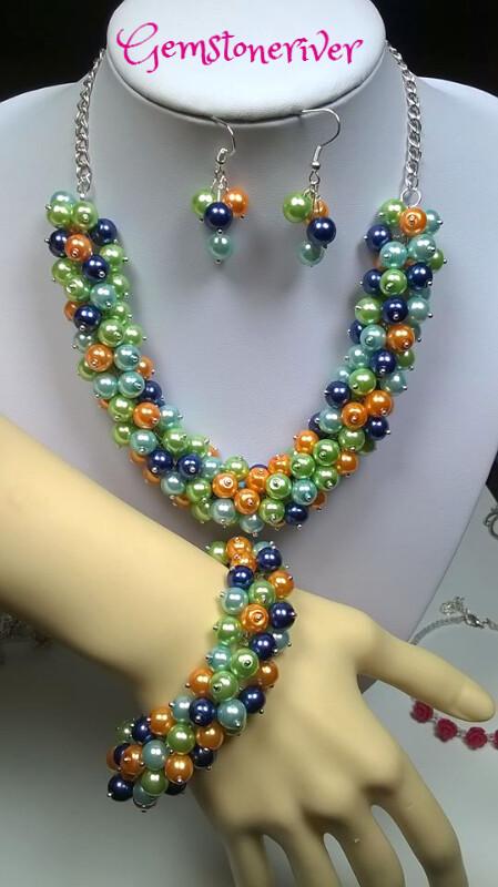 Blue Orange Mint Green & Light Blue Pearl Cluster Necklace Bracelet Set - Cheryl USA