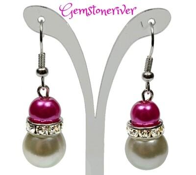Cerise pink fuchsia & ivory cream pearls and sparkling rhinestone earrings - Bride Bridesmaids Flowergirl