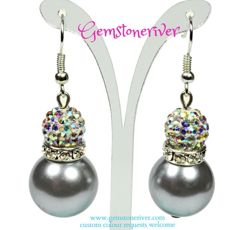 E228 Charcoal Grey pearls & sparkle crystal Rhinestone ball drop earrings | Jenni bridesmaid wedding beach ascot summer party jewellery Gemstoneriver®