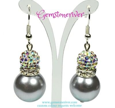 E228 Charcoal Grey pearls & sparkle crystal Rhinestone ball drop earrings   Jenni bridesmaid wedding beach ascot summer party jewellery Gemstoneriver®