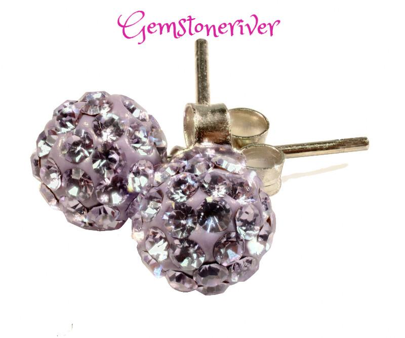E338 Purple Lilac Stardust Disco Ball crystal rhinestone diamante stud earrings on 925 Silver | Gemstoneriver® jewellery UK