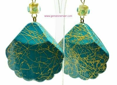 E329 Teal aquamarine gold swirl earrings Suri Beach holiday bridesmaid  wedding jewellery - Gemstoneriver UK