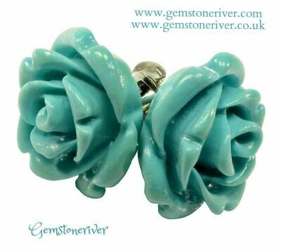 E342 Rose carved stud earrings Turquoise Blue 925 Silver   Gemstoneriver® handmade UK gifts