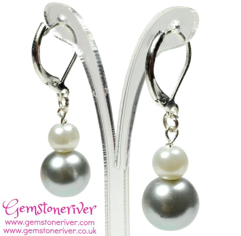 White & Silver Grey Pearl Mini Dangle Earrings