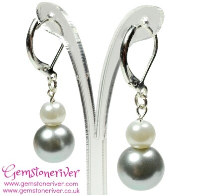 White & Silver Grey Pearl Mini Dangle Earrings - Cute Flower Girl Bridal Wedding Party - Girls Baptism Jewellery UK