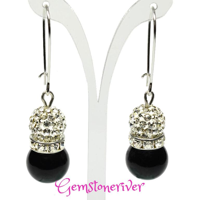 E283 - Black pearls & sparkling crystal disco ball drop earrings | Gemstoneriver® - Eta Bridesmaid birthday gift UK
