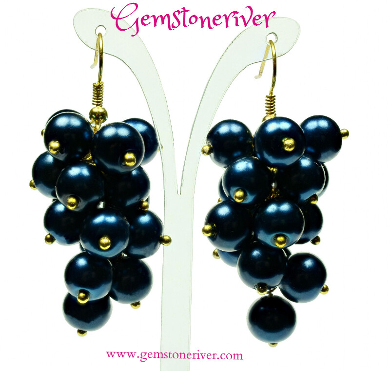 Capri blue pearl statement cluster earrings Mother's Day Bridesmaids Gift