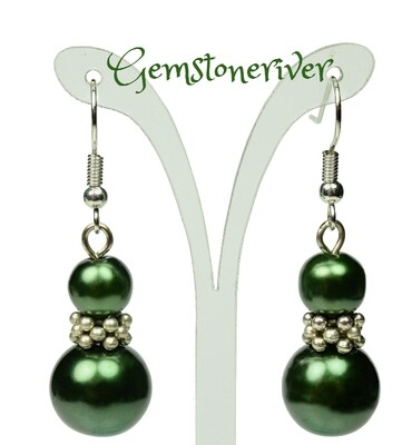 E214 Green Pearl Silver Drop Dangle Earrings - Bridesmaids Prom Dinner Gala Party Bridesmaid Office Jewellery - Dharma