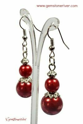 E325 Red Pearl & Silver Dangle Earrings - Bridesmaids Prom Xmas Gala Party Bridesmaid Office Mother's Day Designer UK Jewellery