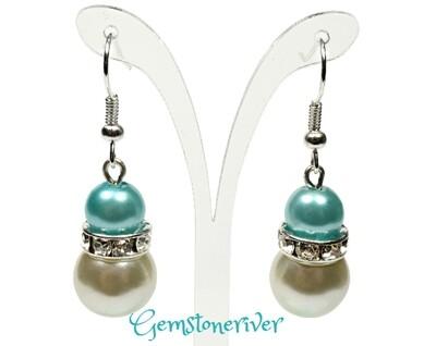 E212 - light blue & ivory cream pearls sparkling rhinestone earrings