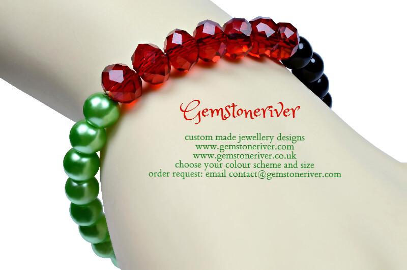 B196 Stylish Black red green crystal sparkling Bracelet - MALAWI- sparkling patriotic freeborn flag national independence colour