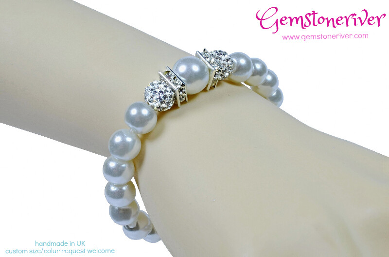 Stylish White Pearl Sparkling Crystal Bangle Bracelet Bridesmaid Bridal Gift