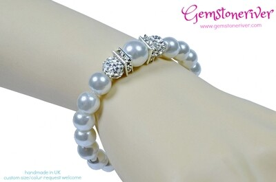 B298 Stylish White Pearl Sparkling Crystal Bangle Bracelet | Bridesmaid Bridal gift