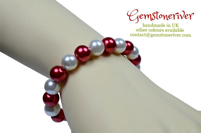 Stylish Red & White Pearl Bracelet Valentine Romantic Bridesmaid Wedding Birthday Gift choose charms UK