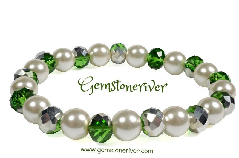 Sparkling Metallic Green Silver crystal & ivory cream pearl bracelet