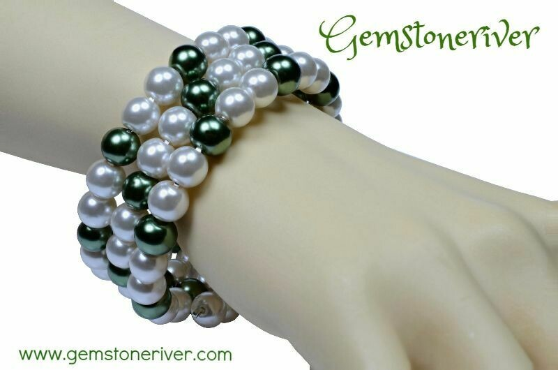 Ivory Cream White & Olive Green Pearls Bracelet & Earrings flexible cuff memory Bridesmaid, Party, Extendable, Chunky Jewellery