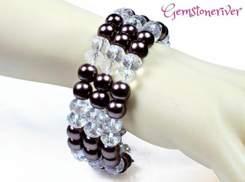 B322 Crystal Quartz & Brown Pearls bracelet earrings Multi-strand flexible Cuff Bridesmaid, Party Chunky cuff Jewellery