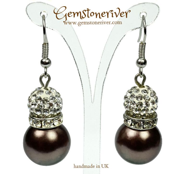 Sparkling crystal & brown pearl ball drop earrings | Gemstoneriver® - bridesmaid wedding birthday gifts UK