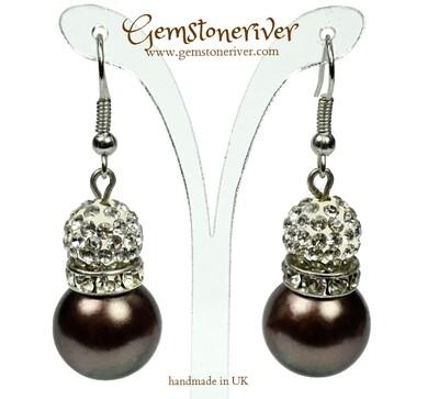 Sparkling crystal & brown pearl ball drop earrings   Gemstoneriver® - bridesmaid wedding birthday gifts UK