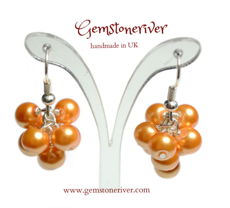 E276 Beautiful Orange Pearl Mini Cluster Earrings - wedding bridesmaid mother henparty jewellery uk RIO