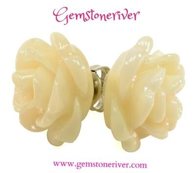 E279 Rose carved stud earrings Ivory Cream White & 925 Silver   Gemstoneriver® Dawn