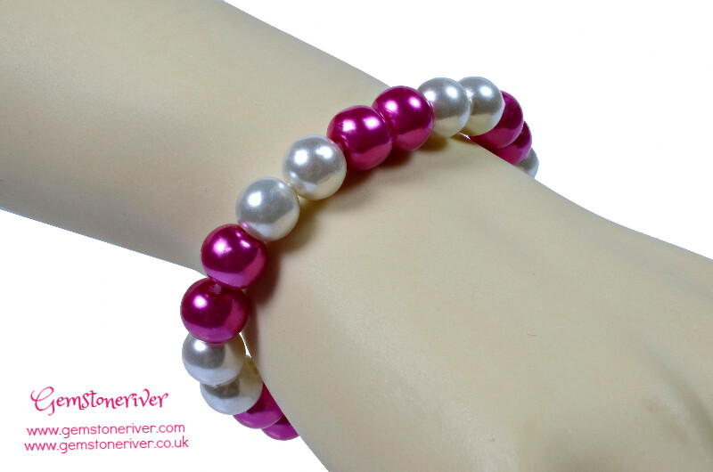 Stylish Cerise hot pink & Cream Ivory White Pearl Bracelet |Bridesmaid Wedding Birthday Gift | choose charms UK
