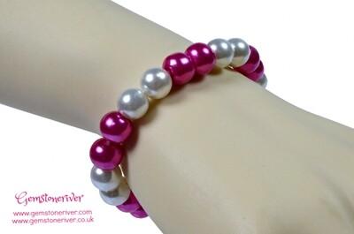 Stylish Cerise hot pink & Cream Ivory White Pearl Bracelet |Bridesmaid Wedding Birthday Gift | choose charms UK