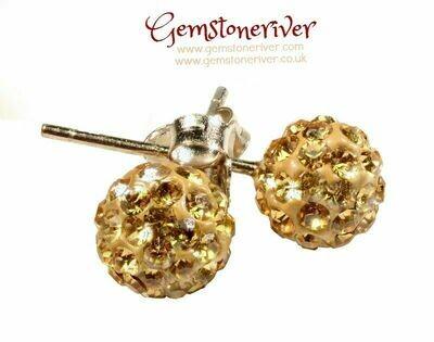 E330 Gold Stardust Disco Ball crystal rhinestone diamante stud earrings on 925 Silver   Gemstoneriver® jewellery UK