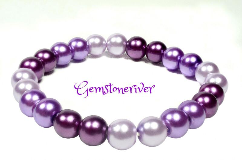 B231 Stylish Purple Lilac & lavender Pearl Bracelet | Bridesmaid Wedding Birthday Gift | choose charms UK Gemstoneriver