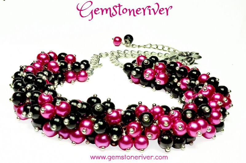 N60 Cerise hot pink fuchsia & Black pearl cluster bib necklace earrings set romantic gifts Designer Jewelry UK Gemstoneriver