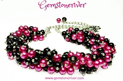 N60 Cerise hot pink fuchsia & Black pearl cluster bib necklace earrings set romantic gifts Designer Jewelry UK Gemstoneriver