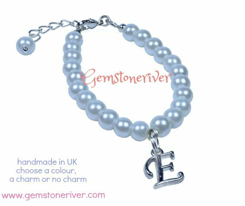 B46 Stylsh White Pearl Bracelet | Flower Girl Christening Bridesmaid Wedding Birthday Gift | choose alphabet & charms - Gemstoneriver